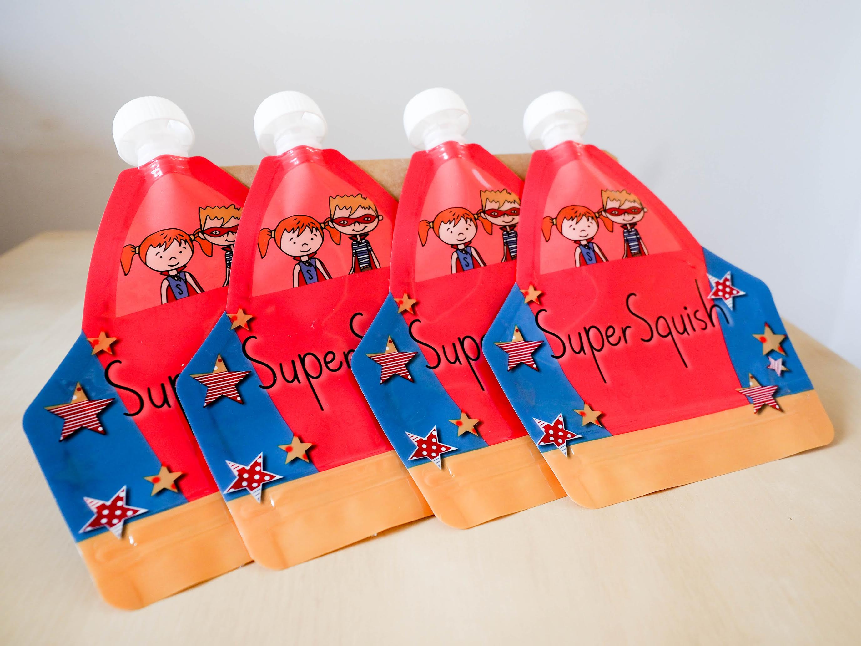 Super Squish pack of 4 reusable food pouches